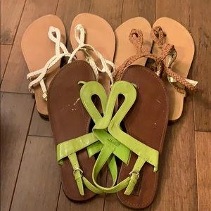 Merona Target Sandals LOT OF 3 - White Brown Green